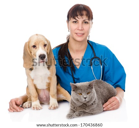 veterinarian hugging cat and dog. isolated on white background - stock photo