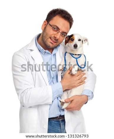 Veterinarian with jack russell terrier