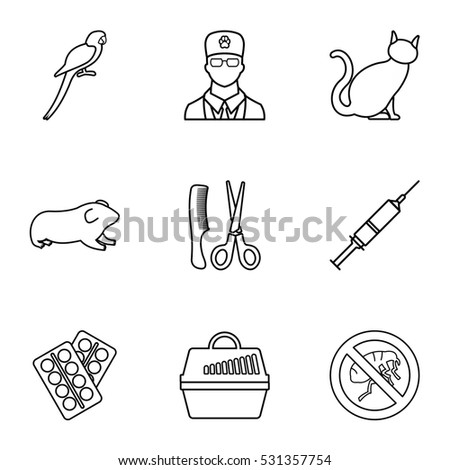 Veterinary animals icons set. Outline illustration of 9 veterinary animals  icons for web