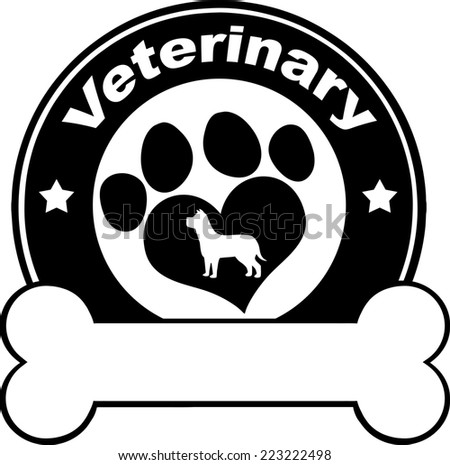 Veterinary Black Circle Label Design With Love Paw Dog And Bone Under Text.  Raster Illustration Isolated on white - stock photo