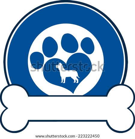 Veterinary Blue Circle Label With Love Paw Dog And Bone. Raster Illustration Isolated on white - stock photo