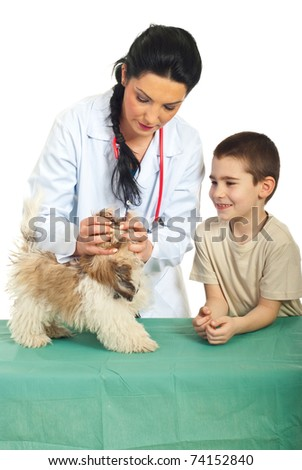 Veterinary examine puppy mouth and the child looking with happy face - stock photo