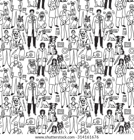 Veterinary People And Pets Seamless Black Pattern Wallpaper With Icons Objects Doctors