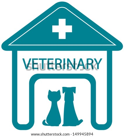 veterinary symbol with home clinic silhouette and pet - cat and dog  - stock photo