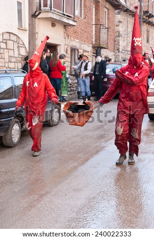 VEVCANI, MACEDONIA - JANUARY 13, 2012: Dressed up participants at Vevcani Carnival, southwestern Macedonia