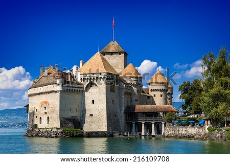 VEYTAUX, SWITZERLAND - September 6, 2014 - Castle Chillon one of the most visited castle in Switzerland attracts more than 300,000 visitors every year. - stock photo