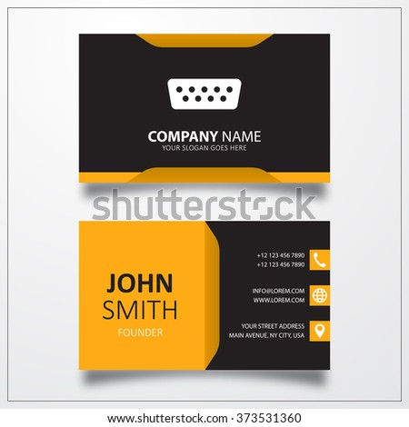 VGA connector cable icon. Business card vector template. - stock photo