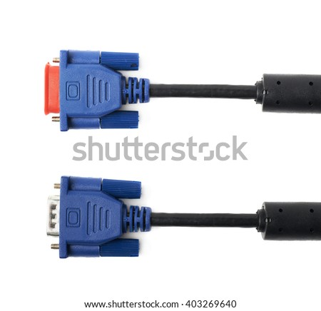 VGA male cable connector isolated over the white background, set of two different foreshortenings