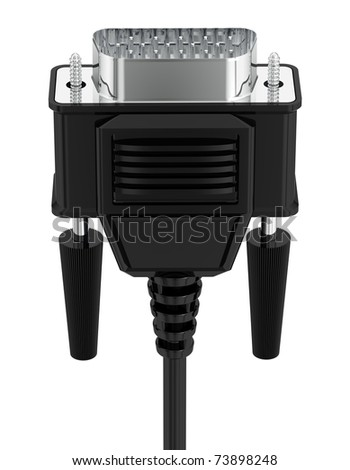 VGA tech pc input cable connector isolated on white background. 3d - stock photo