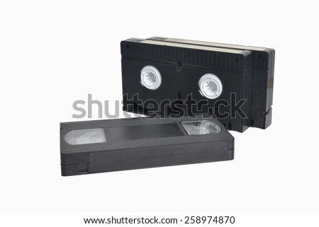 VHS cassette isolated on white background - stock photo