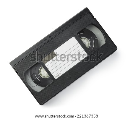 VHS Cassette isolated on white background. Above view. - stock photo