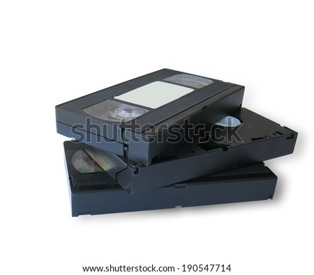 vhs tape isolated on white - stock photo