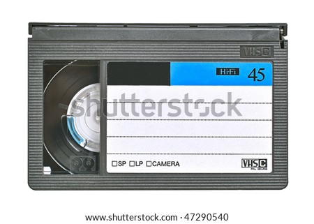 VHS video cassette. Isolated close-up image on white background