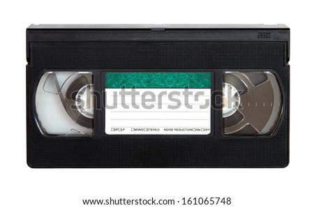 VHS video cassette isolated over white background - stock photo