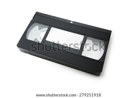 VHS Video cassette tape isolated on white. top view with blank label. - stock photo