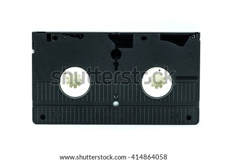 VHS video tape cassette videocassette - Old vhs tape isolated on white background - stock photo