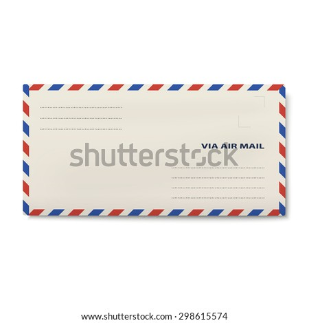 Via air mail DL envelope isolated