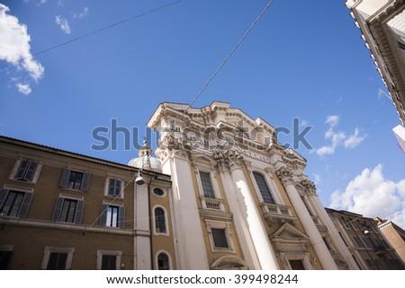 Via del Corso is a main street in the historic center of Rome. - stock photo