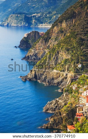 Via dell Amore aerial view, The Way of Love, linking Manarola and Riomaggiore. Cinque Terre National Park, Liguria Italy Europe. - stock photo