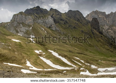 Via ferrata at the top of Colac. The Dolomites in the Alps. - stock photo
