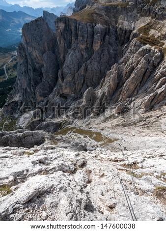 Via ferrata in Dolomites - stock photo