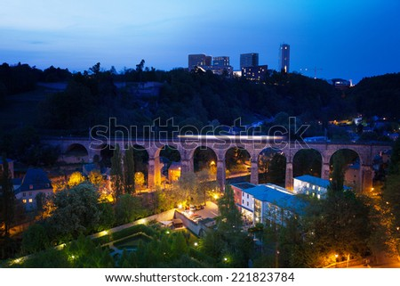 Viaduc (Passerelle) beautiful view at night with lantern lights in Luxembourg - stock photo