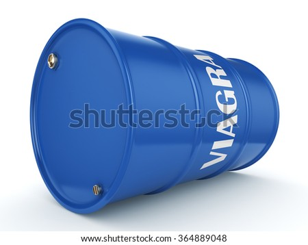 Viagra blue barrel on a white background - stock photo