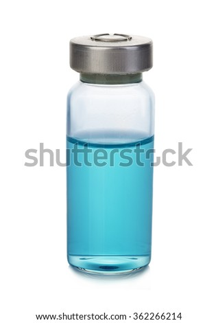Vial with blue solution isolated on a white background. - stock photo