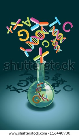 Vial with genetic material as a concept of gene manipulation - stock photo