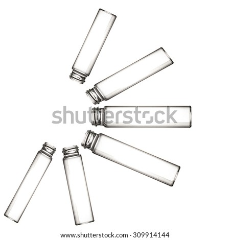 Vials isolated on white. Laboratory glassware - stock photo