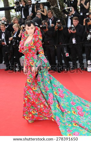 Viann Zhang attends the opening ceremony and 'La Tete Haute' premiere during the 68th annual Cannes Film Festival on May 13, 2015 in Cannes, France. - stock photo