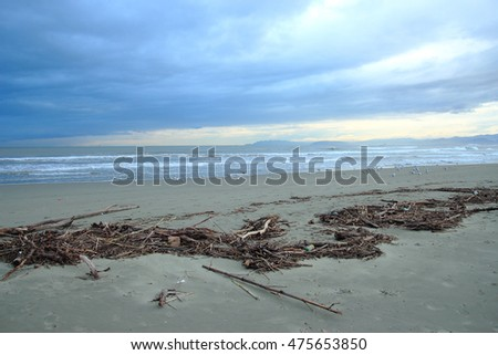Viareggio beach after sea storm in winter time, Tuscany Italy