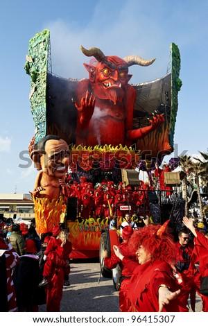 VIAREGGIO - FEBRUARY 26 : the parade of  carnival floats, February 26,2012 in Viareggio,Italy - stock photo