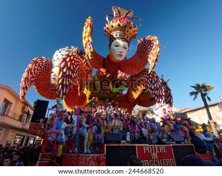 VIAREGGIO, ITALY - FEBRUARY 2:   allegorical float about carnival mask at Viareggio Carnival held February 2, 2013 - stock photo