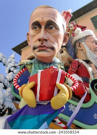 VIAREGGIO, ITALY - FEBRUARY 23:   allegorical mask of prime minister Putin at Viareggio Carnival held February 23, 2014 - stock photo