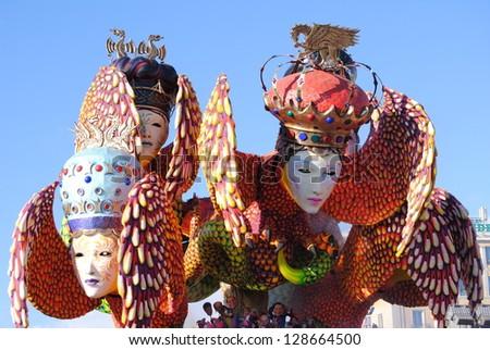 VIAREGGIO, ITALY - 10 FEBRUARY 2013 :Italian carnival.Festival , the parade of carnival floats on streets of Viareggio, February 10, 2013 in Viareggio,Italy - stock photo