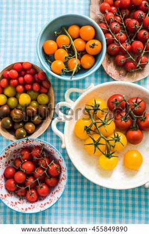 vibrant assorted tomatoes from local market