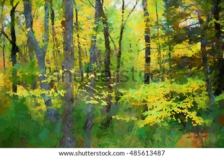 Vibrant autumn photograph of the Poconos woods transformed into a colorful abstract digital painting