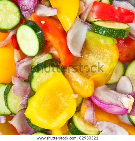 Vibrant background image of mixed chopped vegetables for cooking - stock photo