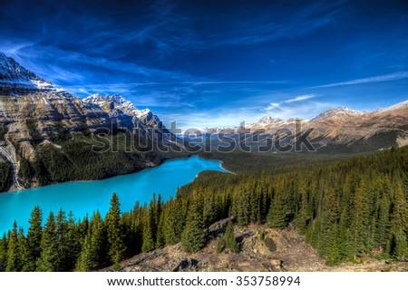 Vibrant Blue Peyto Lake from Bow summit Banff National Park, Alberta Canada - stock photo