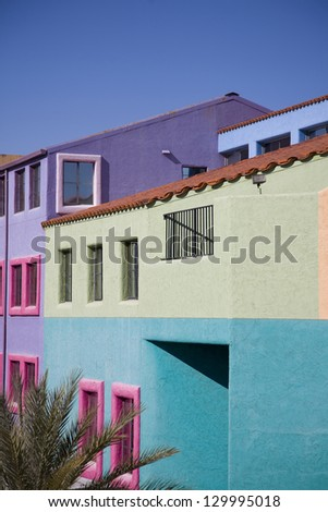 Vibrant buildings in downtown Tucson, Arizona - stock photo