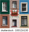 vibrant collection of colorful windows from Ireland - stock photo