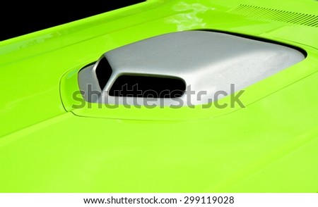 Vibrant colored customized car hood