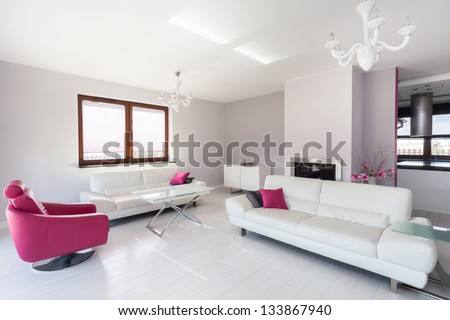 Vibrant cottage - modern living room with pink armchair - stock photo