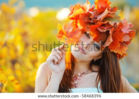 Vibrant fall portrait of beautiful female close-up