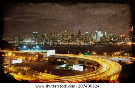 vibrant grunge night time nyc cityscape oil painting - stock photo