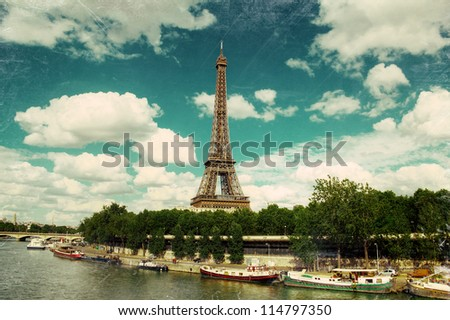 Vibrant grunge style photograph of the Eiffel Tower, Paris. HDR - stock photo
