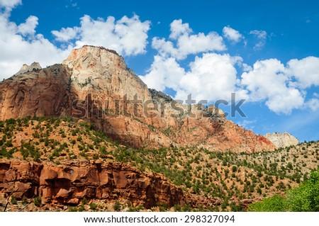 Vibrant Landscape of Zion National Park - stock photo