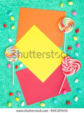 vibrant lollipops colored paper letter size stock photo royalty