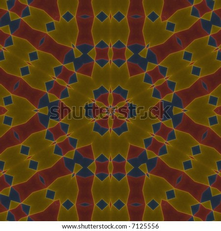 Vibrant mosaic hexagon (red, blue and yellow)